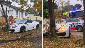 A Lamborghini hit a tree after hitting an aquaplane in Fairfield this afternoon.