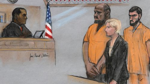 A 2015 file image of a courtroom sketch, David Wright, second from left, is depicted standing before Magistrate Judge Donald Cabell, left, with attorney Jessica Hedges, second from right, and Nicholas Rovinski, right. (AP)