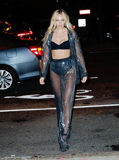Candice Swanepoel at the Victoria's Secret viewing party in New York.