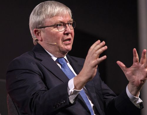 "At a speech in Sydney Kevin Rudd has described Trump as ""the most unpredictable President since the birth of the American republic."" Picture: AAP"
