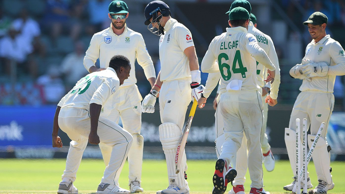 South Africa bowler Kagiso Rabada celebrates after bowling England batsman Joe Root during Day One of the Third Test between England and South Africa