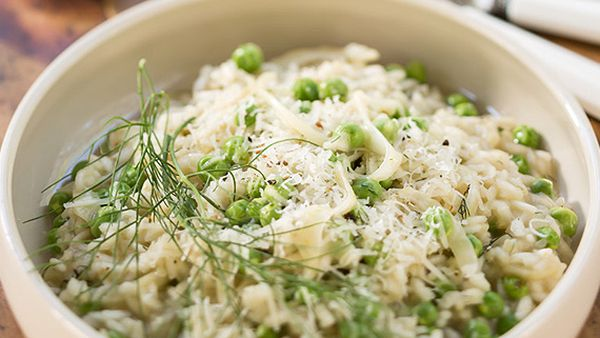 Luke Mangan's fennel and pea risotto
