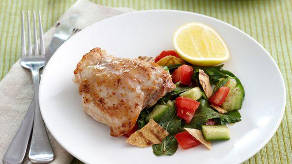 Garlic chicken with fattoush