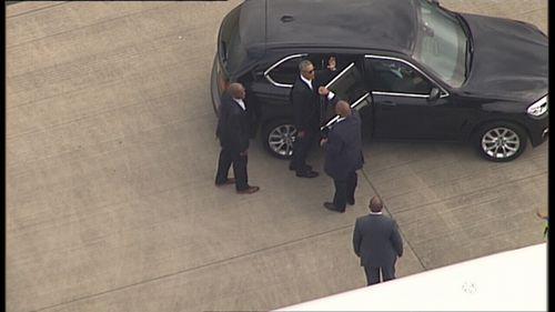 Barack Obama arrives at Sydney Airport on a private jet. (9NEWS)