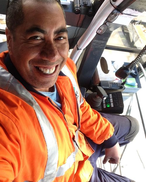 A crane driver by trade, Mr Waaka is pictured here on his first day on the job.