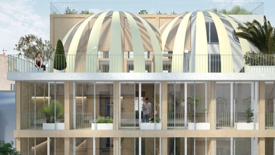Rendering of a sports themed hotel to open in Paris
