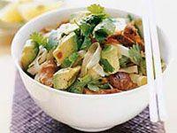 Avocado and glazed pork rice noodles