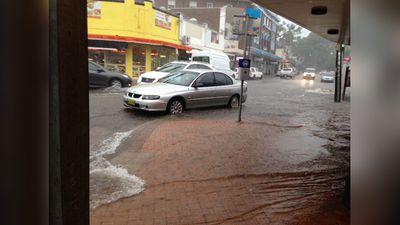 Even the sidewalks got flooded in Strathfield. (Corinne Gaston)