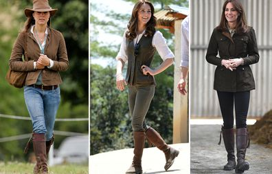 Kate Middleton wearing Penelope Chilvers boots at (L-R) Festival of British Eventing at Gatcombe Park in August 2005, hiking to Paro Taktsang, the Tiger's Nest monastery in Bhutan in 2016, visit to Teagasc Research Farm in Ireland in March 2020