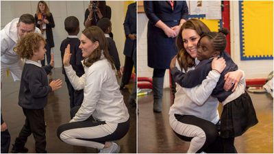 Duchess of Cambridge hugs and high-fives primary school kids