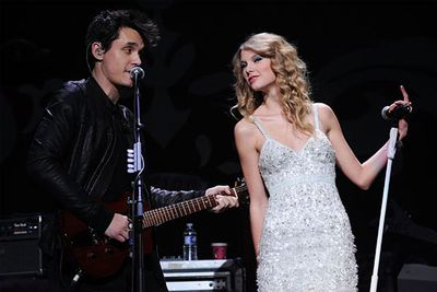 """She's a sweet-as-pie Disney Princess and he's the sleazy big bad wolf (who's 13 years older than her!). This pairing was bound to end in tears! In fact, it ended with heartbroken Taylor writing a song about John being a total cradle-snatching sleaze. Touch&#233;!<br>""""Dear John, I see it all now that you're gone. Don't you think I was too young, To be messed with? The girl in the dress, Cried the whole way home, I should've known."""""""