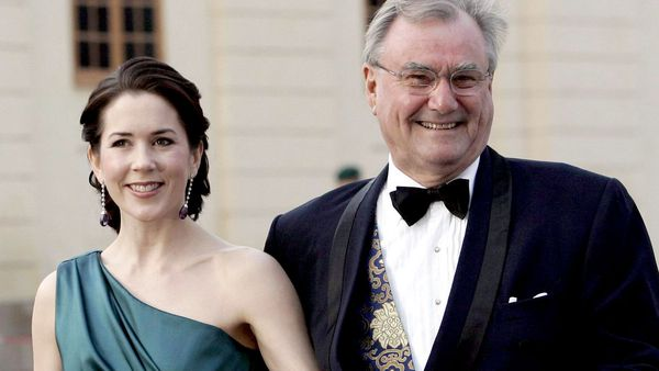 Crown Princess Mary (left) with her father-in-law Prince Consort Henrik of Denmark. (AAP)