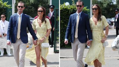 Pippa Middleton and husband James Matthews attend Wimbledon, July 2019
