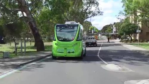 The electric-powered bus boasts 10 sensors and can carry 14 people at a time. (9NEWS)