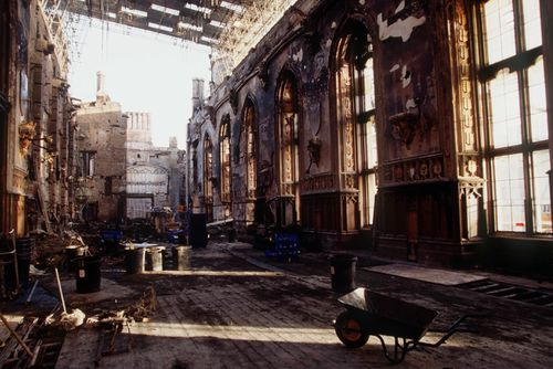 November 21, 1992: The burned remains of St George's Hall after the fire which began in the Queen's Private Chapel. Picture: Getty