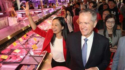 Bill Shorten campaigning with Labor candidate for Chisholm Jennifer Yang.