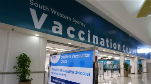 The newly opened South Western Sydney Vaccination Centre at Macquarie Fields.