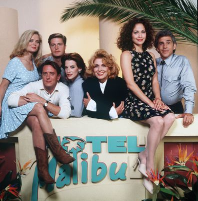 """""""Hotel Malibu"""" cast members shown here are (from left) Romy Windsor (sometimes credited as: Romy Walthall), John Dye, Harry O'Reilly, Cheryl Pollak, Joanna Cassidy, Jennifer Lopez  and Pepe Serna. """"Hotel Malibu"""" aired weekly on CBS television from August 4, 1994 to September 8, 1994."""