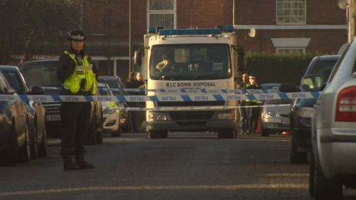 The bomb squad was called to a home in Chesterfield as four men were arrested during terror raids. (Twitter)
