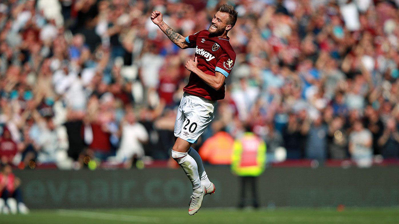 West Ham celebrate beating Manchester United