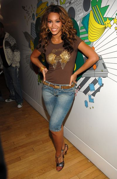 <p>2006: Today Beyonc&eacute;&rsquo;s idea of casual seems to be four-figured top from Gucci but back in 2006 the singer was happy to turn up at MTV&rsquo;s New York studios wearing cropped denim trousers and a T-shirt reminiscent of fashion mistake Ed Hardy. </p> <p>You can bet that she hasn&rsquo;t held onto these outfits for Blue Ivy.</p>