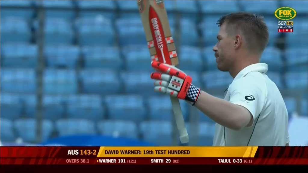 David Warner reaches 100 against Bangladesh