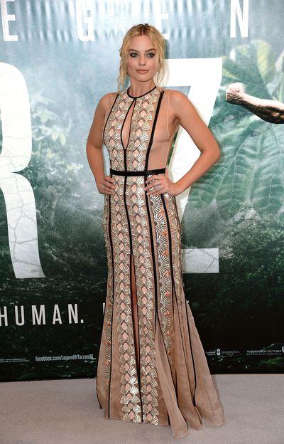 Margot Robbie in Miu Miu at the European premiere of <em>The Legend Of Tarzan</em>in London on July 5, 2016