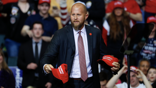 rad Parscale, manager of President Donald Trumps reelection campaign, throws Make America Great Again hats to the audience before a rally in Grand Rapids, Mich., Thursday, March 28, 2019. (AP Photo/Paul Sancya)