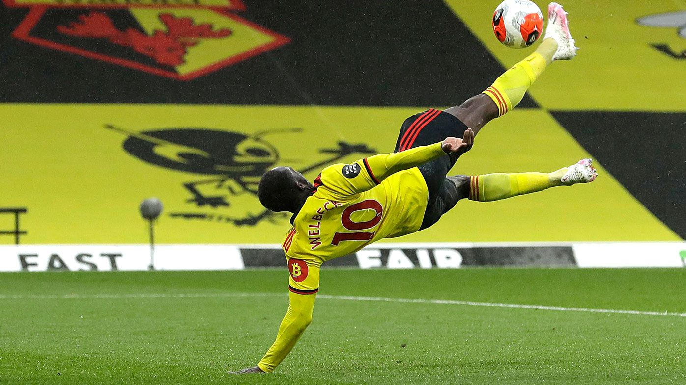 Danny Welbeck of Watford scores his team's second goal
