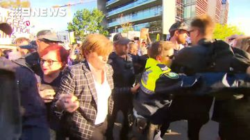 Violent protests break out at Tony Abbott fundraising event