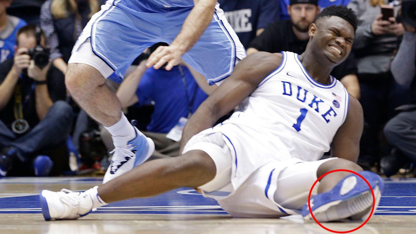 College phenom Zion Williamson injures knee following sneaker explosion
