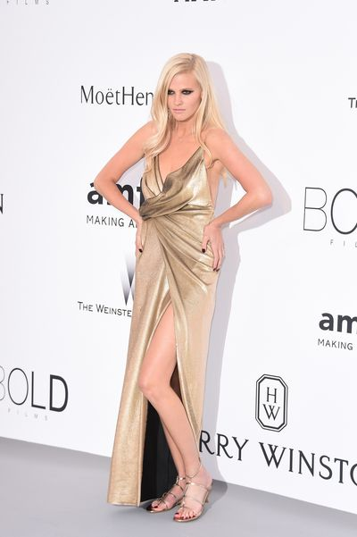 <p>Lara Stone in Saint Laurent</p>