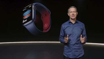 In this still image provided by Apple from the keynote video of a special event at Apple Park in Cupertino, California, Apple's Chief Operating Officer Jeff Williams unveils Apple Watch Series 6 on Tuesday, Sept. 15, 2020.