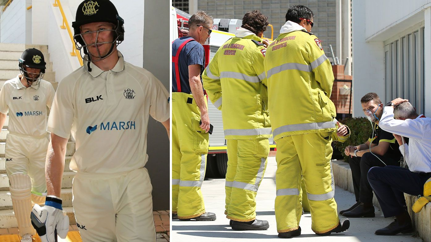 Fire scare halts play in Sheffield Shield