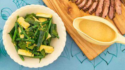 "Recipe:&nbsp;<a href=""https://kitchen.nine.com.au/2017/02/07/15/50/pohs-zucchini-green-bean-and-mint-salad"" target=""_top"">Poh's zucchini, green bean and mint salad</a>"
