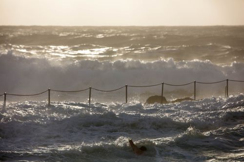 The BoM linked the powerful surf conditions to a low pressure system in the Tasman Sea (AAP).