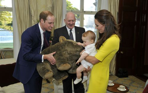 Prince George was famously given an oversized wombat when he visited with William and Kate in 2014. (AAP)