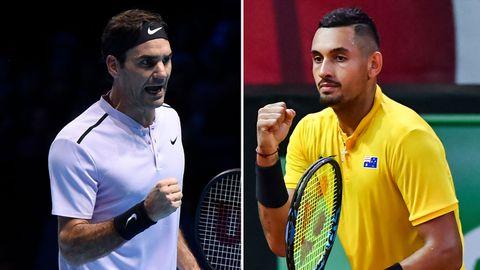 Roger Federer (left) and Nick Kyrgios.