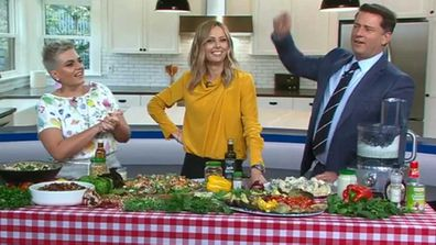 Jane de Graaff, Ali Langdon and Karl Stefanovic go head-to-head on salads