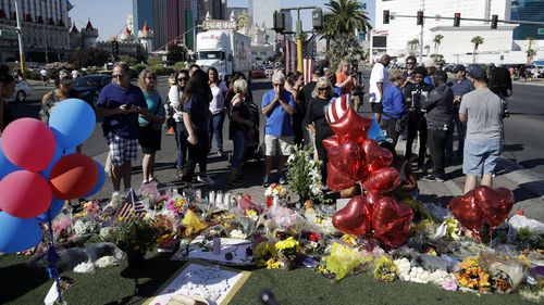 A memorial for the victims of the Las Vegas. (AAP)