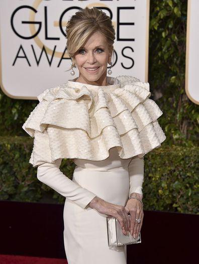 Jane Fonda arrives at the 73rd annual Golden Globe Awards in Beverly Hills, Calif., Jan. 10, 2016