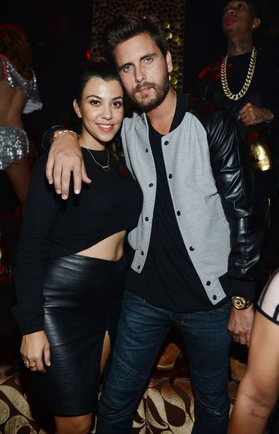 Kourtney Kardashian and Scott Disick celebrate Kim Kardashian's 33rd birthday at Tao Las Vegas on October 25, 2013 in Las Vegas, Nevada.