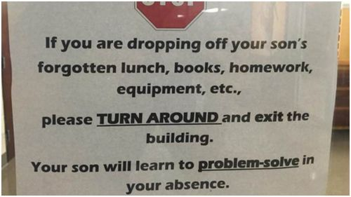 US high school tells parents to stop bringing forgotten lunch and homework