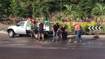 Beer flows down busy road after ute becomes 'tipsy'