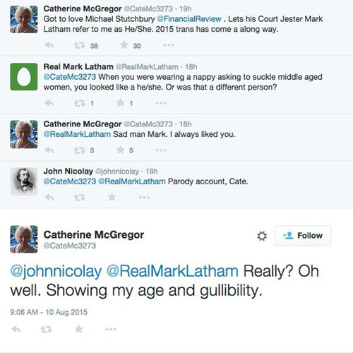 Some of the tweets via the apparent parody account. (9NEWS)