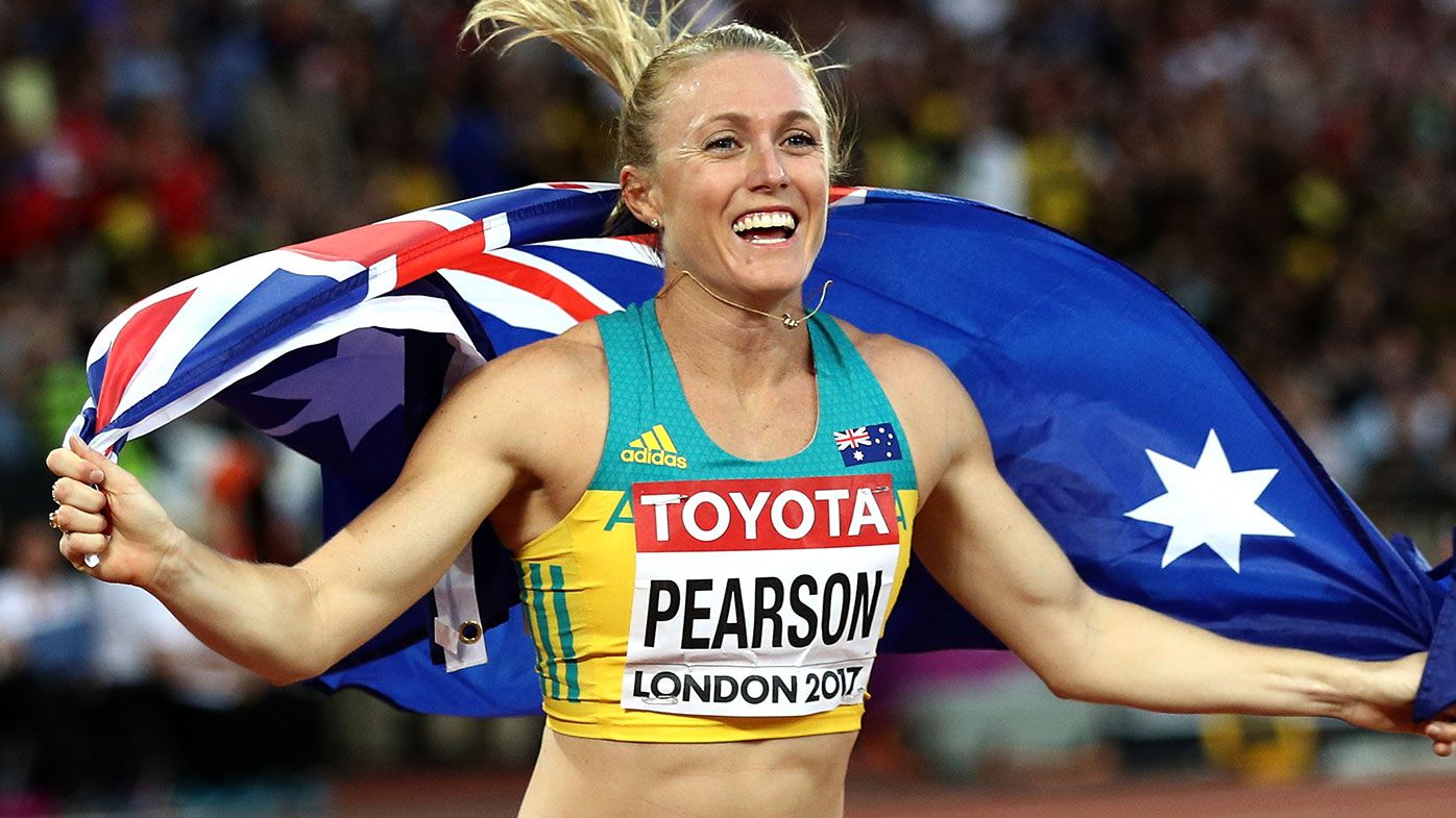 Sally Pearson of Australia celebrates with an Australian flag after winning gold in the Women's 100 metres hurdles final during day nine of the 16th IAAF World Athletics Championships London 2017 at The London Stadium on August 12, 2017 in London, United Kingdom. (Photo by Patrick Smith/Getty Images)