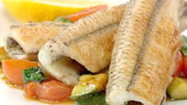Garfish with zucchini and tomato crush