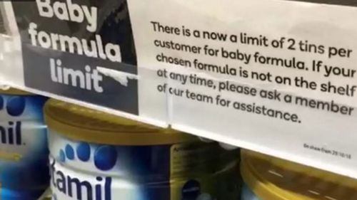 Baby formula is limited to two tins per customer.