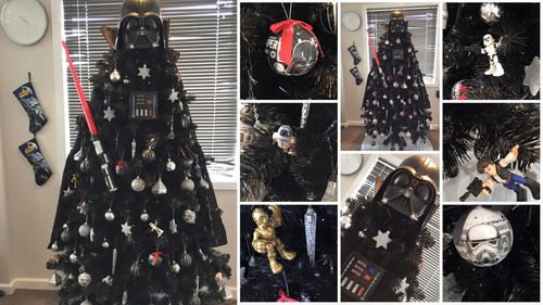 'Merry Christmas and may the force be with you': Hobart family creates epic Darth Vader tree