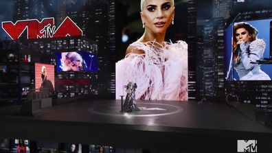 Lady Gaga accepts the Tricon award during the MTV Video Music Awards Sunday, August 30, 2020